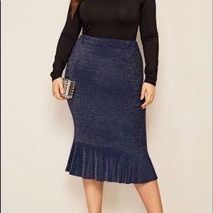 Plus Fishtail Hem Glitter Skirt from SHEIN